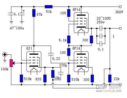 6j1+6p14电子管耳放耳机放大器胆机电路图