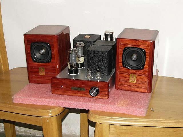 空前决后~~6j8p+6p3p电子管单端胆机红木箱面音响