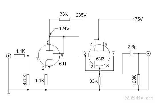 6j1+6n3电子管胆前级