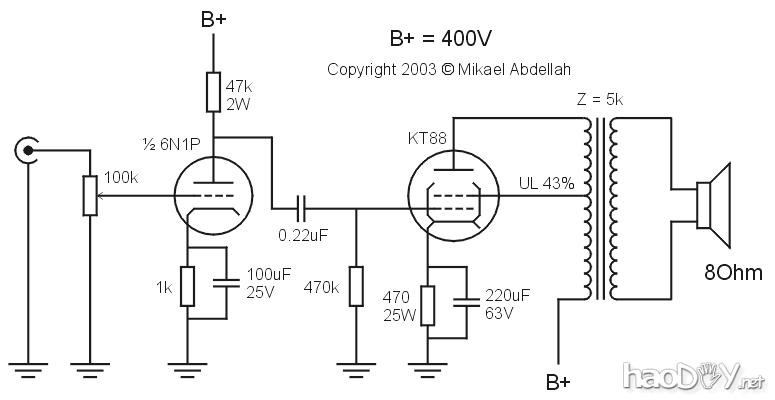 译文:6n1+kt88电子管单端胆机功放原理图