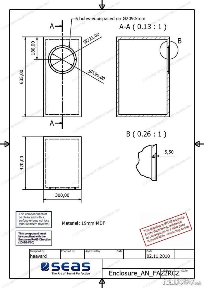 十二寸音箱设计图纸