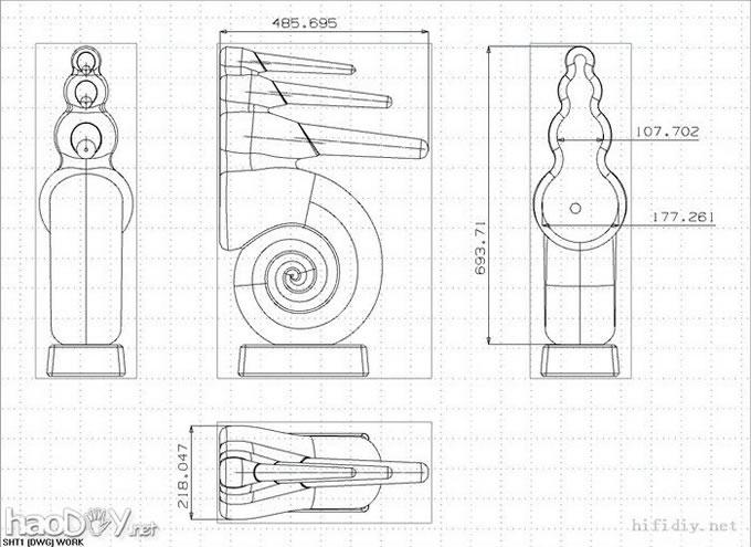6.5寸鹦鹉螺音箱附图纸