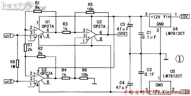 本仪表放大器是由三个OA27P集成运算放大器构成,OA27P的特点是低噪声、高速、低输入失调电压和卓越的共模克制比。仪表放大器电路毗连成比例运算电路情势,个中前两个运放构成第一级,二者都接成同相输入情势,因此具有很高的输入电阻。因为电路的布局对称,它们的漂移和失调都有相互抵消的浸染。后一个运放构成差分放大器,将差分输入转换为单端输出。经计较,本计划中仪表放大器的电压放大倍数Au=R5/R3(1+2R1/R2)=100,功效将在仿真中验证。 仪表放大器的布局特点:使仪表放大器成为一种高输入电阻,高共模克制比