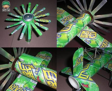 diy易拉罐手工制作螺旋桨小飞机diy图解