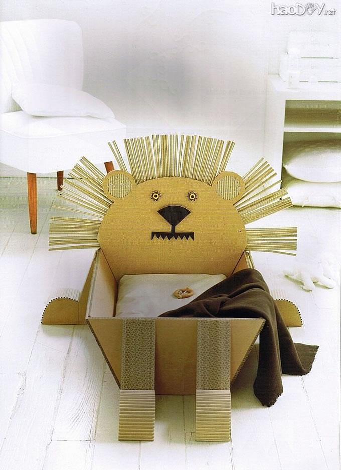 自制用瓦楞纸板diy创意动物收纳箱