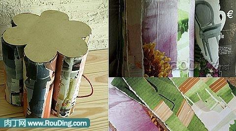 制作用烟花筒手工diy创意花瓣板凳