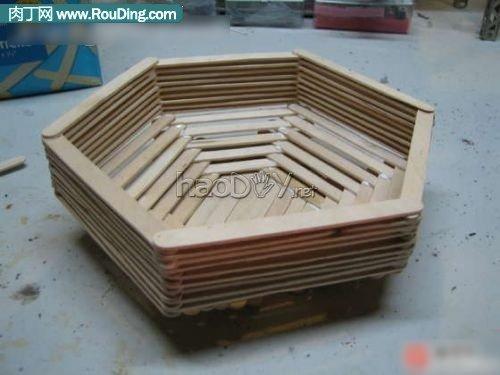 diy雪糕棍手工制作实用的多边形收纳盒