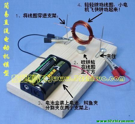 自制简易直流电动机模型(科技小制作套件)
