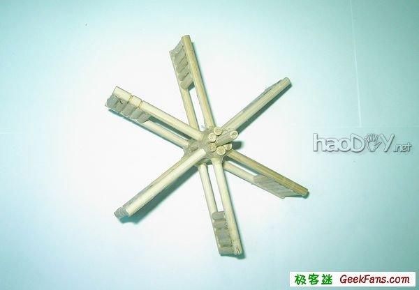 自制一次性筷子废物利用:diy筷子水车