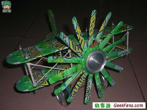 diy用易拉罐制作飞机模型