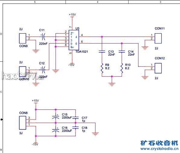 四,PCB板 1.关键板均是用感光板自己做的:电源板,LM1875,5532前级,TDA1521,TDA1521A,音调板 2.卡拉OK板买的是成品板 3.电平显示是洞洞板 五,机箱 采用一旧功放机箱的底板重新拍漆,四周及顶盖采用环氧树脂板