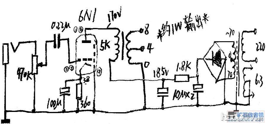 历时两天,6N1小胆放成功了。双70V串联全桥整流,6.3V绕组中心接地。 零件不多:电阻3个(1.8K、360Ω、470K),电容4个(10μF/450VX2、100μF/25V、 仅用一个0.22μF红WIMA ) 牛牛:电源小C牛(70V-0-70V、6.3V/0.8A)、输出双C小牛(0-5000Ω、0-4-8Ω) 胆管:6N1并联输出 底版为老电话铝底版+U型钢板组合而成,调整、拆卸方便;接线全部使用老纤维外包阻燃线 设计