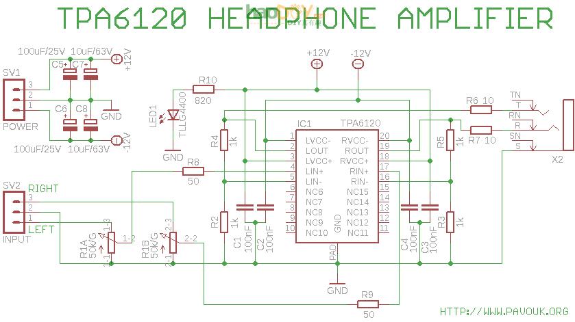 耳机放大器的制作tpa6120电路图